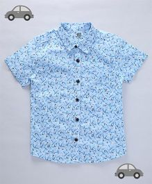 Milonee Abstract Print Casual Shirt - Sky Blue