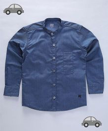 Milonee Denim Look Chinese Collar Shirt - Teal Blue
