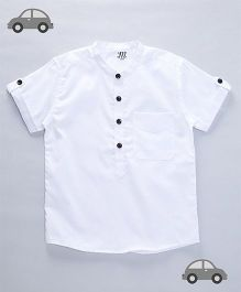Milonee Solid Self Design Chinese Collar Shirt - White