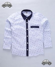 Milonee Small Prints Solid Collar Shirt - Blue