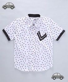 Milonee Square Print Shirt - White & Black