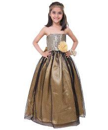 Samsara Couture Party Wear Off Shoulder Ball Gown Flower Applique - Black Golden