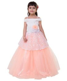 Samsara Couture Party Wear Off Shoulder Ball Gown Floral Appliques - Peach White