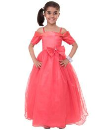 Samsara Couture Party Wear Off Shoulder Ball Gown Bow Applique - Coral