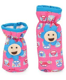 1st Step Bottle Cover Pack Of 2 Floral Applique And Vehicle Print - Blue Pink