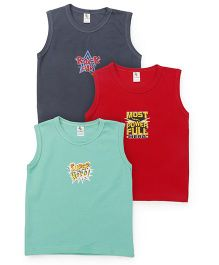 Cucumber Sleeveless Vests Set Of 3 - Red Green Grey