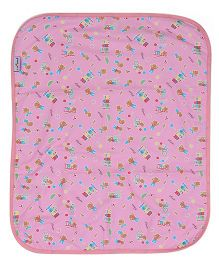 1st Step Bed Protector Teddy And Train Print - Pink
