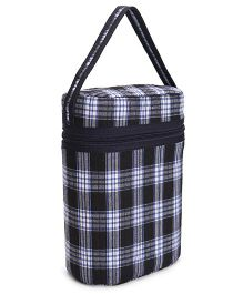 Insulated Double Bottle Bag Blue White - Fits Bottle Upto 330ml Each
