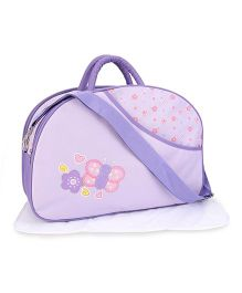Mother Bag With Changing Mat Butterfly Embroidery - Purple