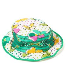 Akinos Kids Floral Printed Summer Hat - Green