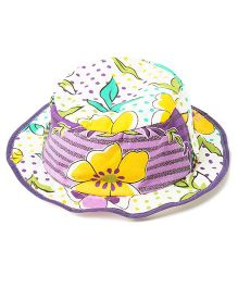 Akinos Kids Floral Printed Summer Hat - Purple