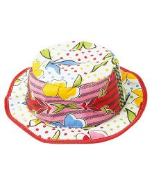 Akinos Kids Floral Printed Summer Hat - Red