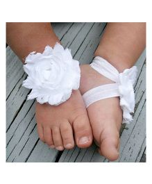 Akinos Kids Elastic Rosset Flower Barefoot Double Strap Sandal Shoes - White