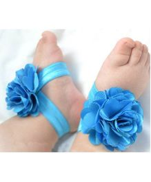 Akinos Kids Flower Applique Barefoot Sandals - Sky Blue