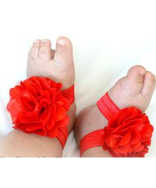 Akinos Kids Flower Applique Barefoot Sandals - Red