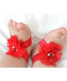 Akinos Kids Barefoot Shoes With Rhinestone - Red