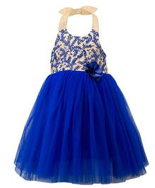 Toy Balloon Halter Neck Party Wear Frock - Royal Blue