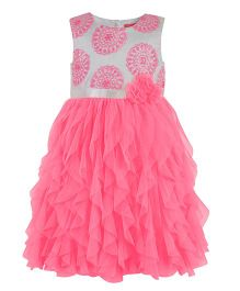 Toy Balloon Sleeveless Party Wear Frock - White Pink