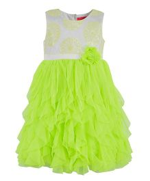Toy Balloon Sleeveless Party Wear Frock - Neon Green