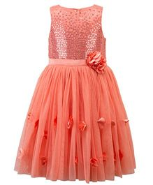 Toy Balloon Sleeveless Party Wear Frock With Sequins - Peach
