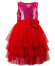 Toy Balloon Sleeveless Party Wear Frock With Sequins - Red
