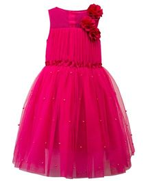 Toy Balloon Sleeveless Party Wear Frock Floral Applique - Fuchsia