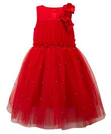 Toy Balloon Sleeveless Party Wear Frock Floral Applique - Red