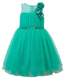 Toy Balloon Sleeveless Party Wear Frock Floral Applique - Green