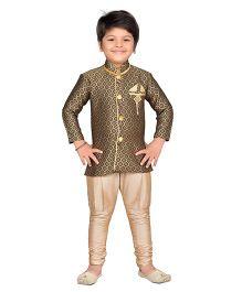 AJ Dezines Sherwani Kurta And Breeches Set - Black Golden