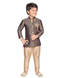 AJ Dezines Sherwani Kurta And Breeches Set - Navy Golden