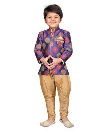 AJ Dezines Full Sleeves Sherwani And Jodhpuri Breeches Set - Purple And Golden