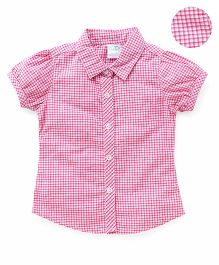 Babyhug Half Sleeves Shirt Checks Print - Pink