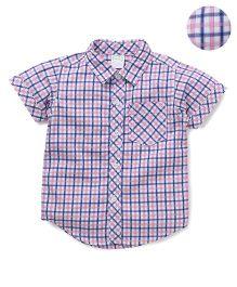 Babyhug Half Sleeves Checks Shirt - Pink Blue