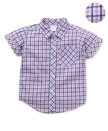 Babyhug Half Sleeves Checks Shirt - Pink Blue