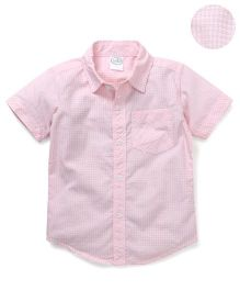 Babyhug Half Sleeves Shirt Checks Print - Pink