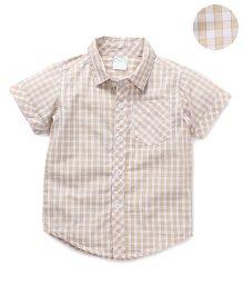 Babyhug Half Sleeves Shirt Checks Print - Beige