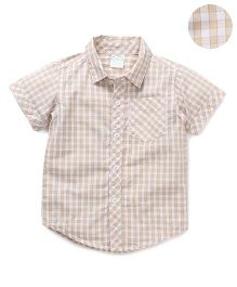 Babyhug Half Sleeves Shirt Checks Print - Beige