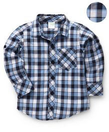 Babyhug Full Sleeves Checks Shirt - Blue Black White