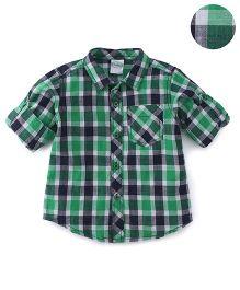 Babyhug Full Sleeves Checks Design Shirt - Green Blue