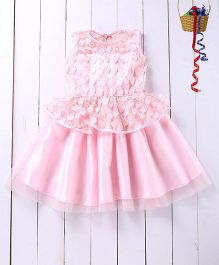 Pspeaches Leaf Applique Dress - Pink
