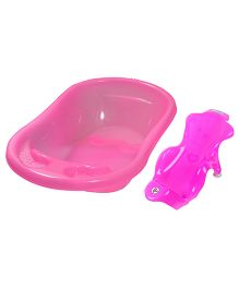Sunbaby Plastic Bath Tub And Bath Sling - Pink