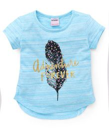 Button Noses  Half Sleeves Tee Adventure Forever Print - Blue