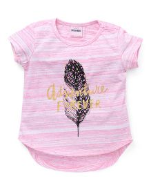 Button Noses  Half Sleeves Tee Adventure Forever Print - Pink