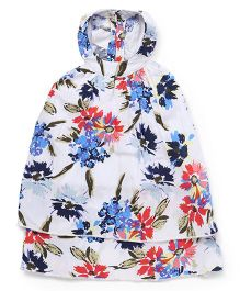 Button Noses Halter Neck Frock Floral Print - White & Multicolor