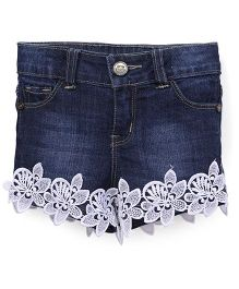 Button Noses  Shorts Floral Motifs - Dark Blue
