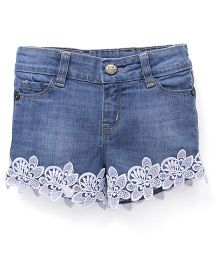 Button Noses  Shorts Floral Motifs - Light Blue