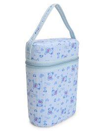 Insulated Double Bottle Bag Teddy Bear Print - Blue