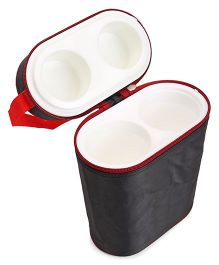 Insulated Double Bottle Bag Rectangular Shape  - Black And Red