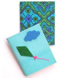 Two For Joy Pocket Canvas Diary Set Of 2 - Blue Green