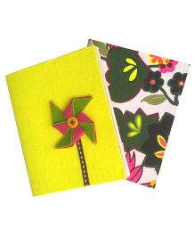 Two For Joy Pocket Canvas Diary Set Of 2 - Yellow Green